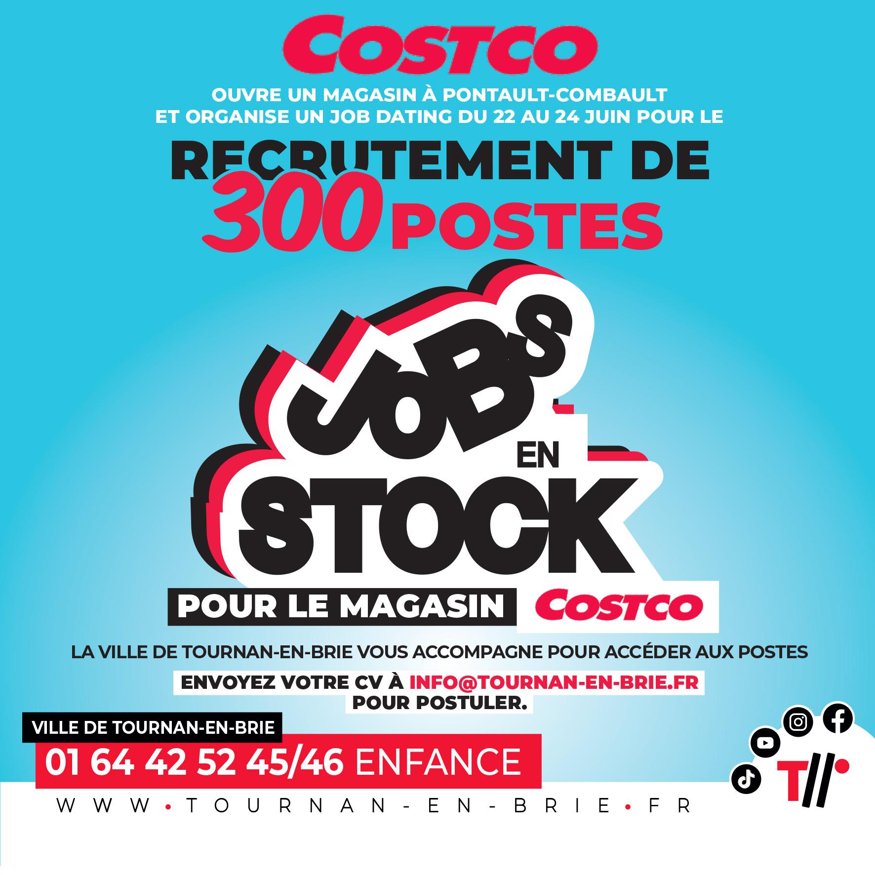 COSTCO RECRUTE! LA VILLE DE TOURNAN-EN-BRIE VOUS AIDE À POSTULER!