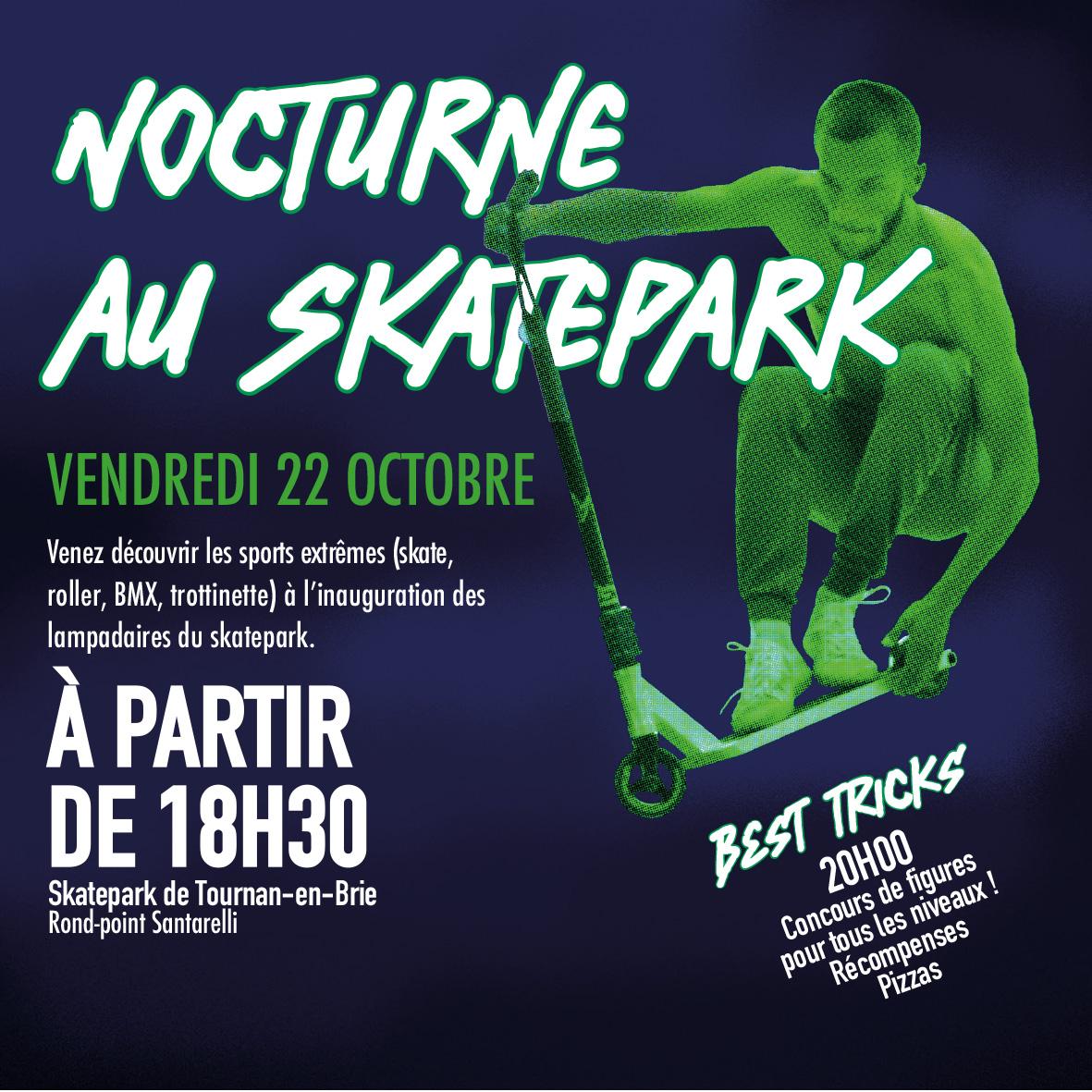 1er éclairage du skatepark!